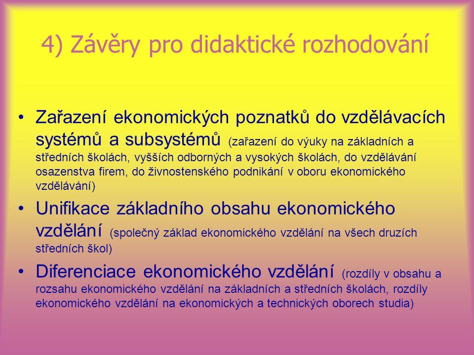 4) Závěry pro didaktické rozhodování Zařazení ekonomických poznatků do vzdělávacích systémů a subsystémů (zařazení do výuky na základních a středních