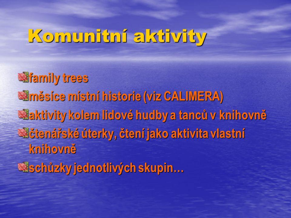 Komunitní aktivity Komunitní aktivity family trees měsíce místní historie (viz CALIMERA) aktivity kolem lidové hudby a tanců v knihovně čtenářské úterky, čtení jako aktivita vlastní knihovně schůzky jednotlivých skupin…