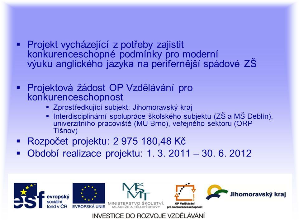  Projekt vycházející z potřeby zajistit konkurenceschopné podmínky pro moderní výuku anglického jazyka na perifernější spádové ZŠ  Projektová žádost OP Vzdělávání pro konkurenceschopnost  Zprostředkující subjekt: Jihomoravský kraj  Interdisciplinární spolupráce školského subjektu (ZŠ a MŠ Deblín), univerzitního pracoviště (MU Brno), veřejného sektoru (ORP Tišnov)  Rozpočet projektu: 2 975 180,48 Kč  Období realizace projektu: 1.