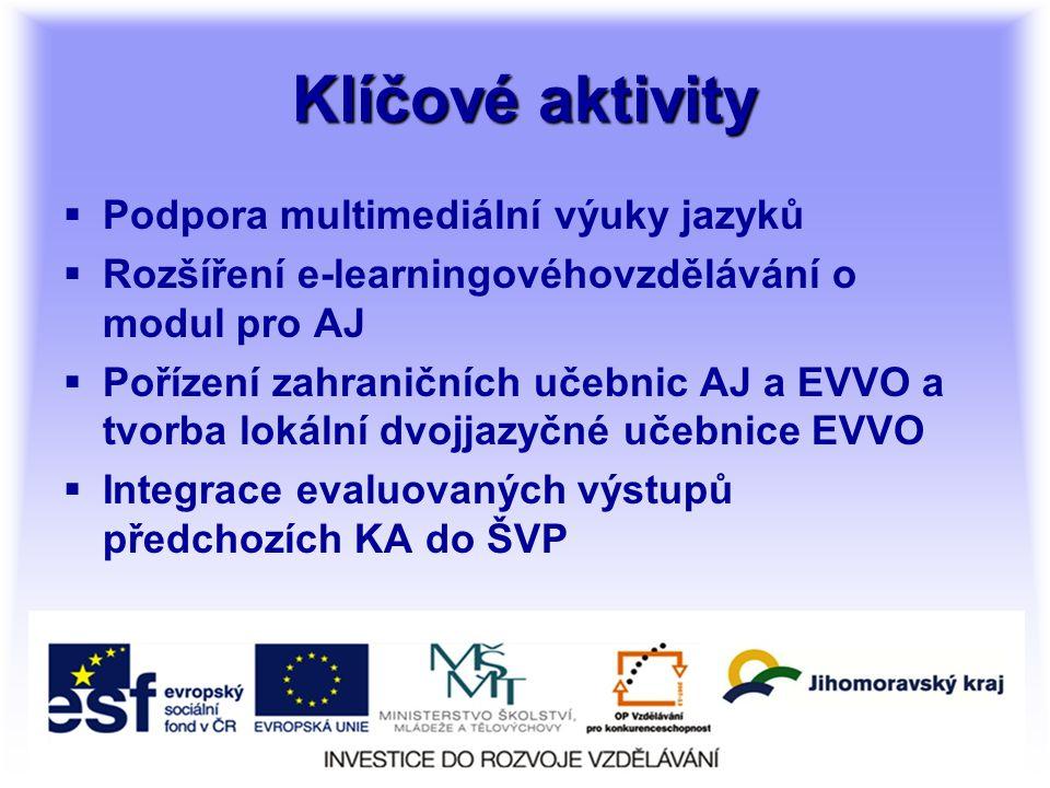 Klíčové aktivity  Podpora multimediální výuky jazyků  Rozšíření e-learningovéhovzdělávání o modul pro AJ  Pořízení zahraničních učebnic AJ a EVVO a tvorba lokální dvojjazyčné učebnice EVVO  Integrace evaluovaných výstupů předchozích KA do ŠVP