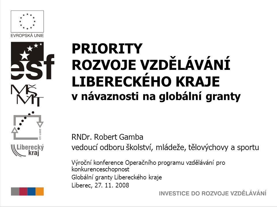 PRIORITY ROZVOJE VZDĚLÁVÁNÍ LIBERECKÉHO KRAJE v návaznosti na globální granty Zelená kniha České vzdělání a Evropa (1999)