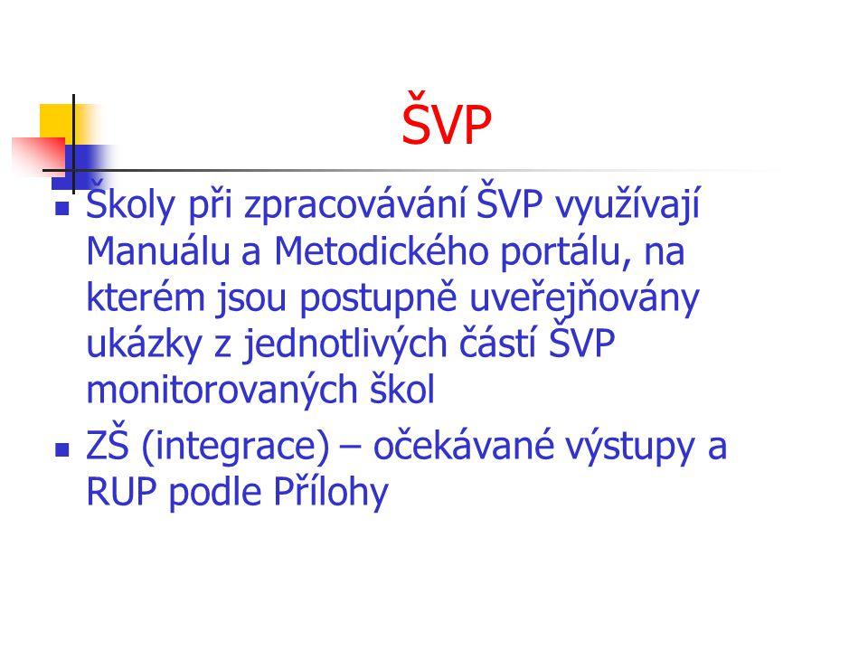 ŠVP Školy při zpracovávání ŠVP využívají Manuálu a Metodického portálu, na kterém jsou postupně uveřejňovány ukázky z jednotlivých částí ŠVP monitorovaných škol ZŠ (integrace) – očekávané výstupy a RUP podle Přílohy