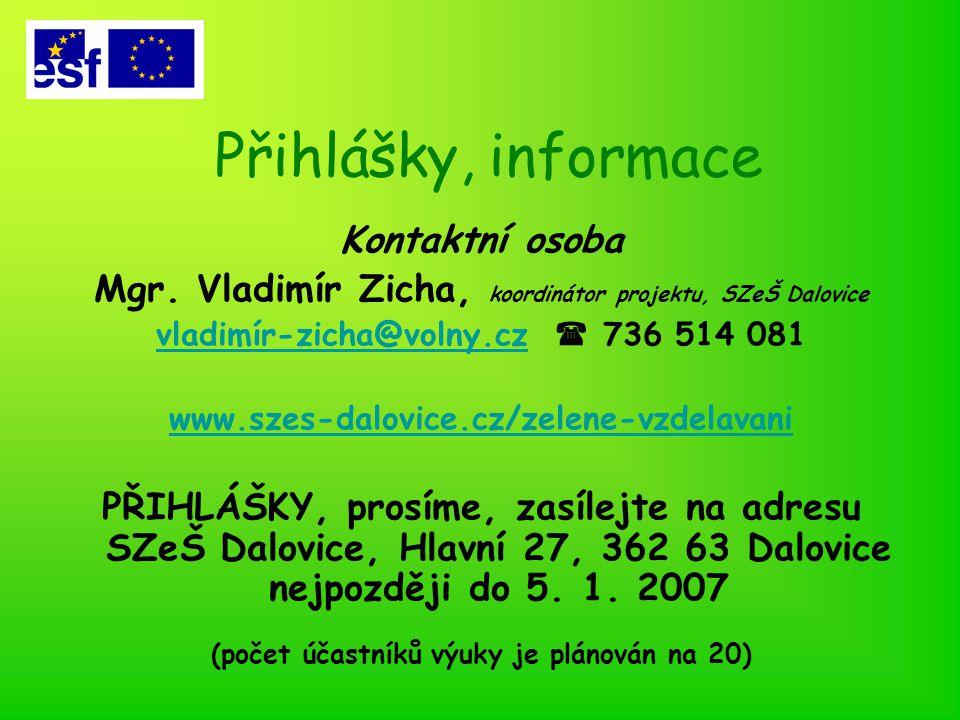 Přihlášky, informace Kontaktní osoba Mgr.