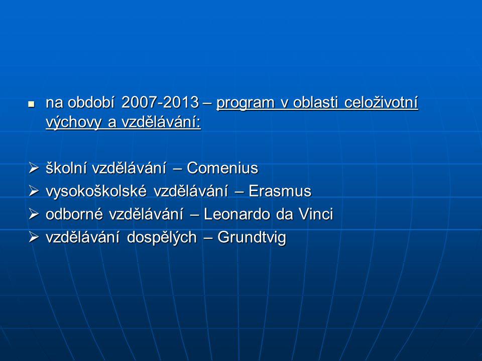 na období 2007-2013 – program v oblasti celoživotní výchovy a vzdělávání: na období 2007-2013 – program v oblasti celoživotní výchovy a vzdělávání:  školní vzdělávání – Comenius  vysokoškolské vzdělávání – Erasmus  odborné vzdělávání – Leonardo da Vinci  vzdělávání dospělých – Grundtvig