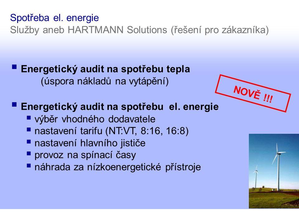 Spotřeba el. energie Služby aneb HARTMANN Solutions (řešení pro zákazníka)  Energetický audit na spotřebu tepla (úspora nákladů na vytápění)  Energe