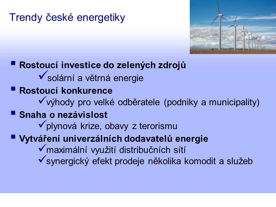 Trendy české energetiky  Rostoucí investice do zelených zdrojů solární a větrná energie  Rostoucí konkurence výhody pro velké odběratele (podniky a municipality)  Snaha o nezávislost plynová krize, obavy z terorismu  Vytváření univerzálních dodavatelů energie maximální využití distribučních sítí synergický efekt prodeje několika komodit a služeb