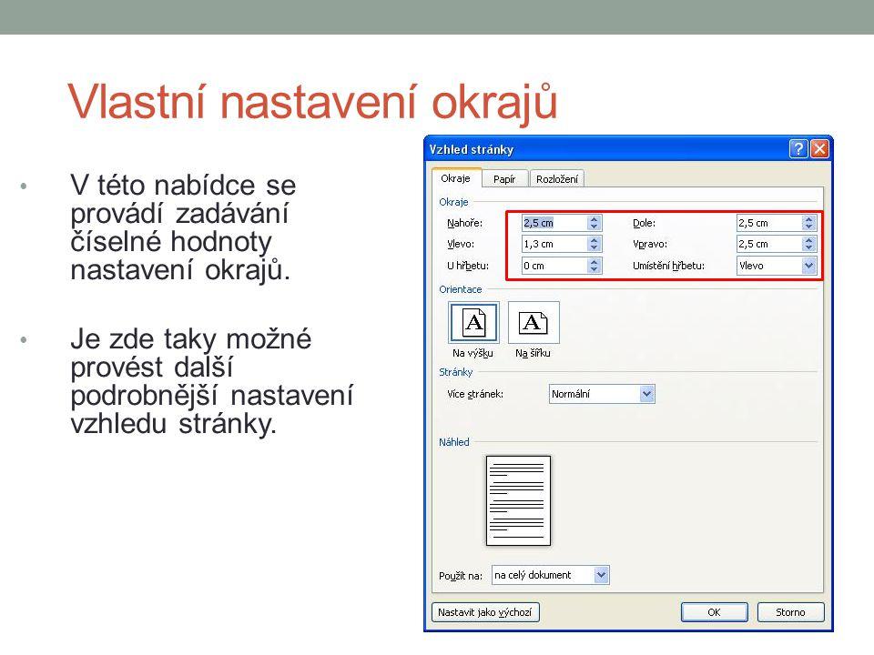 Počet sloupců na stránce V této nabídce se nastavuje počet textových sloupců na stránce.