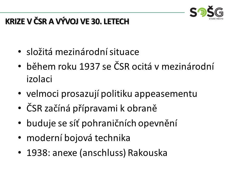 opevněním nechráněný úsek uzavíralo se obklíčení ČSR v dubnu 1938 byly formulovány zásady plánu útoku na ČSR (Fall Grünn) SdP měla sjezd v Karlových Varech Henlein má nesplnitelné požadavky na autonomii Němců v pohraničí (ve skutečnosti odtržení) KRIZE V ČSR A VÝVOJ VE 30.