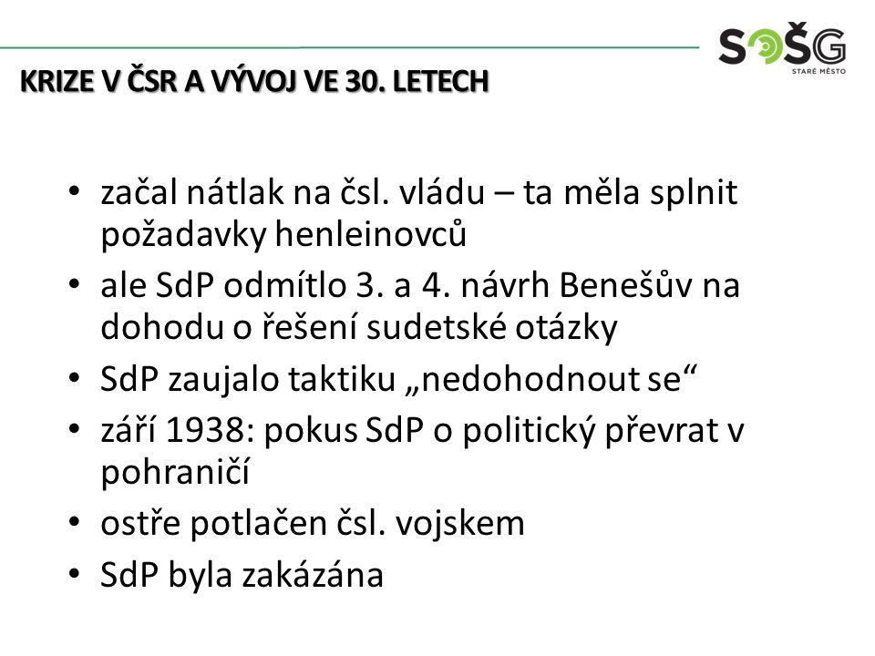 začal nátlak na čsl. vládu – ta měla splnit požadavky henleinovců ale SdP odmítlo 3.