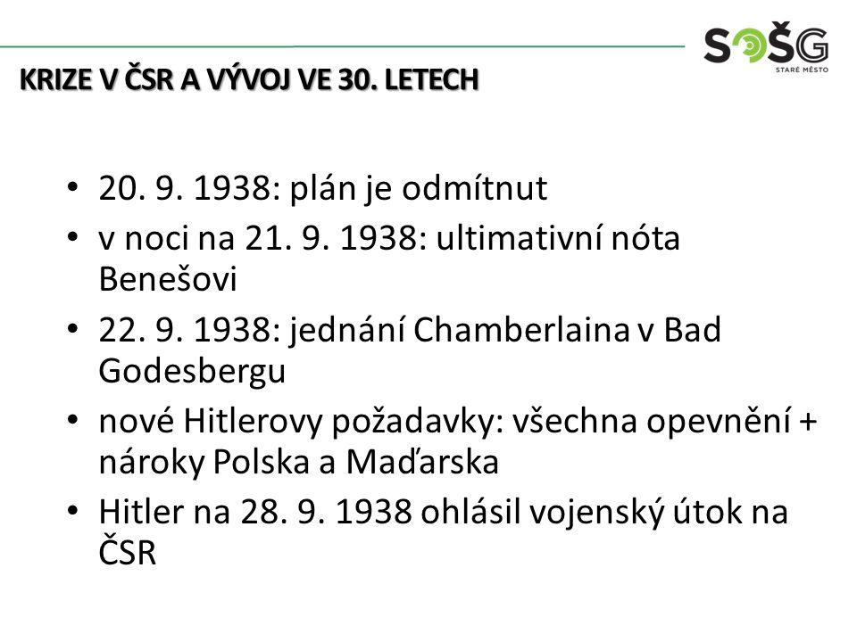 20. 9. 1938: plán je odmítnut v noci na 21. 9. 1938: ultimativní nóta Benešovi 22.