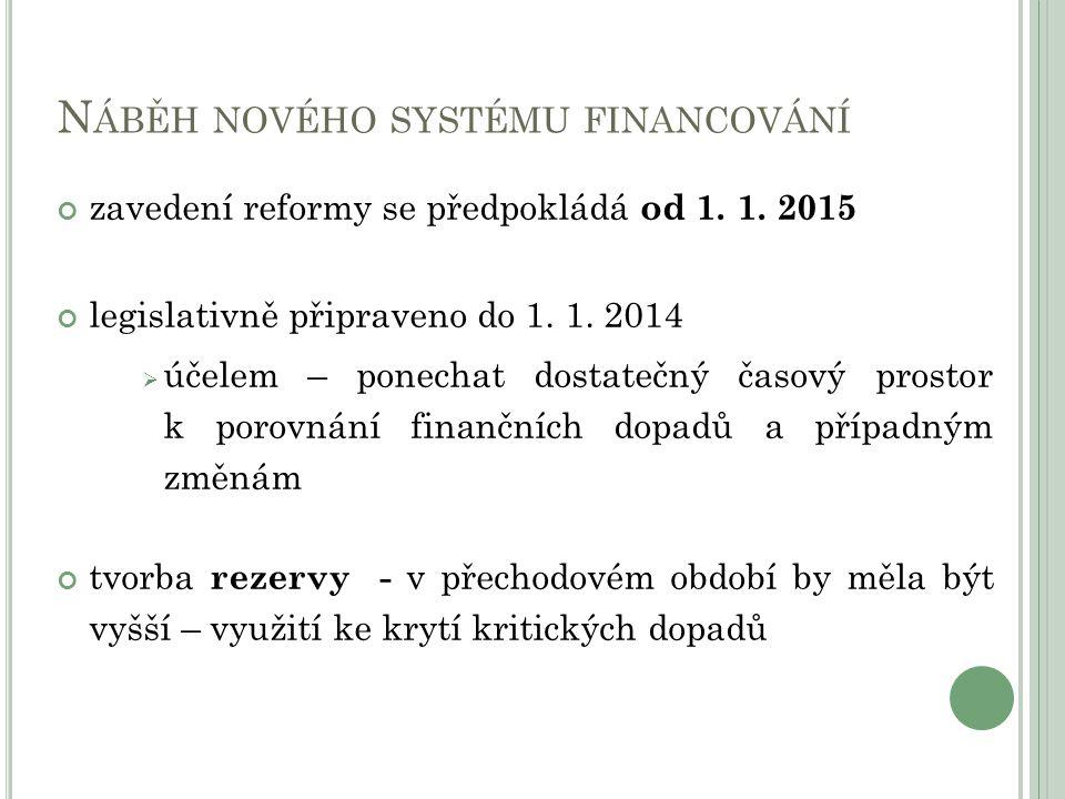 N ÁBĚH NOVÉHO SYSTÉMU FINANCOVÁNÍ zavedení reformy se předpokládá od 1. 1. 2015 legislativně připraveno do 1. 1. 2014  účelem – ponechat dostatečný č