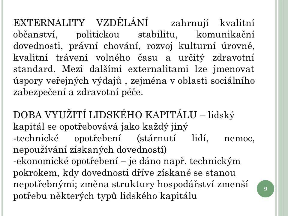 9 EXTERNALITY VZDĚLÁNÍ zahrnují kvalitní občanství, politickou stabilitu, komunikační dovednosti, právní chování, rozvoj kulturní úrovně, kvalitní trá