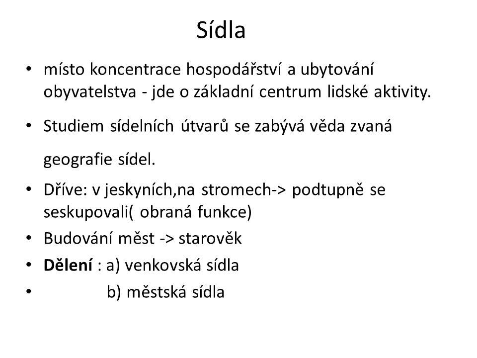 Venkovská sídla Mezi venkovská sídla patří samoty, osady a vesnice.