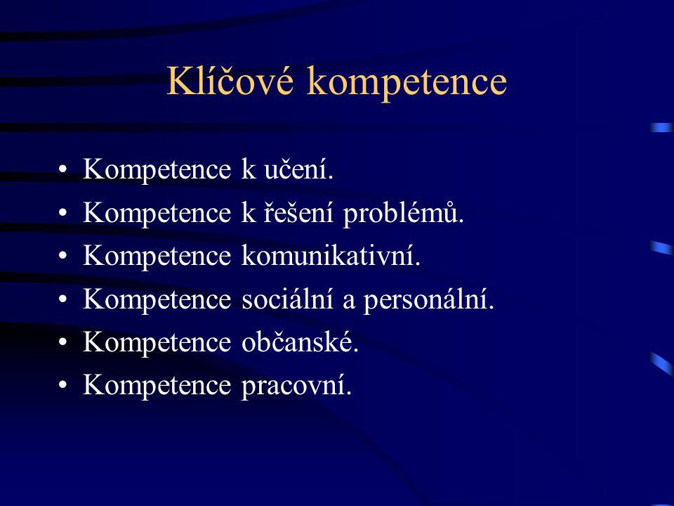 Klíčové kompetence Kompetence k učení. Kompetence k řešení problémů. Kompetence komunikativní. Kompetence sociální a personální. Kompetence občanské.