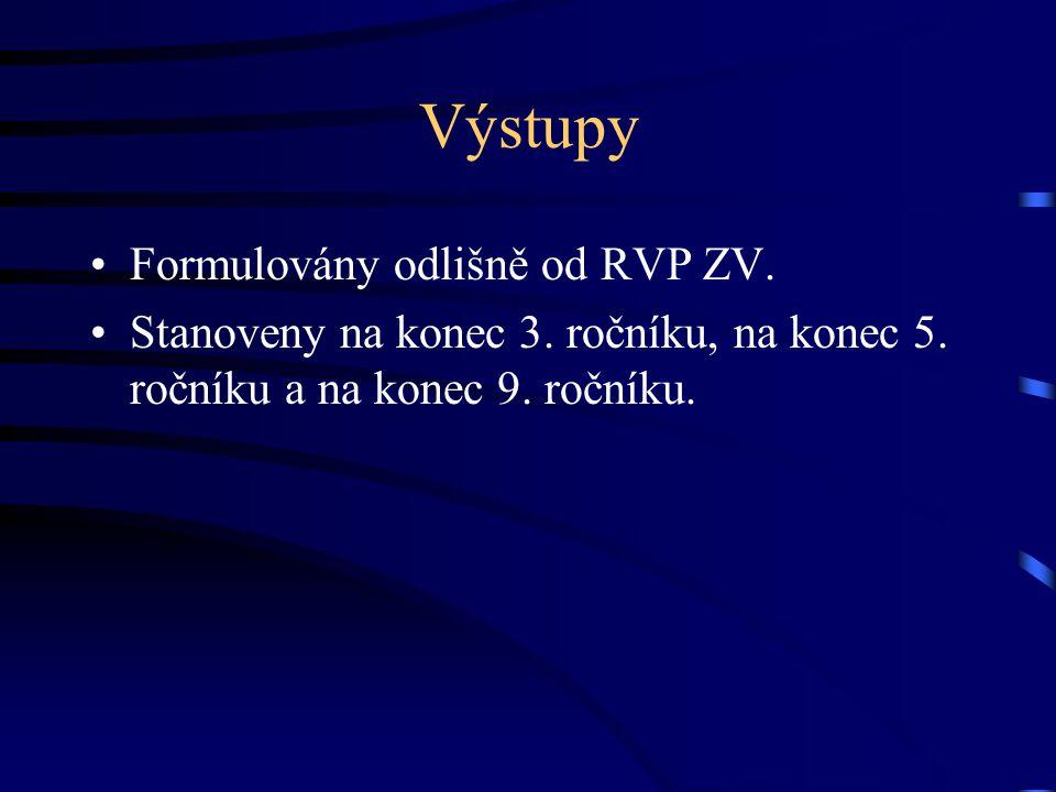 Výstupy Formulovány odlišně od RVP ZV. Stanoveny na konec 3. ročníku, na konec 5. ročníku a na konec 9. ročníku.