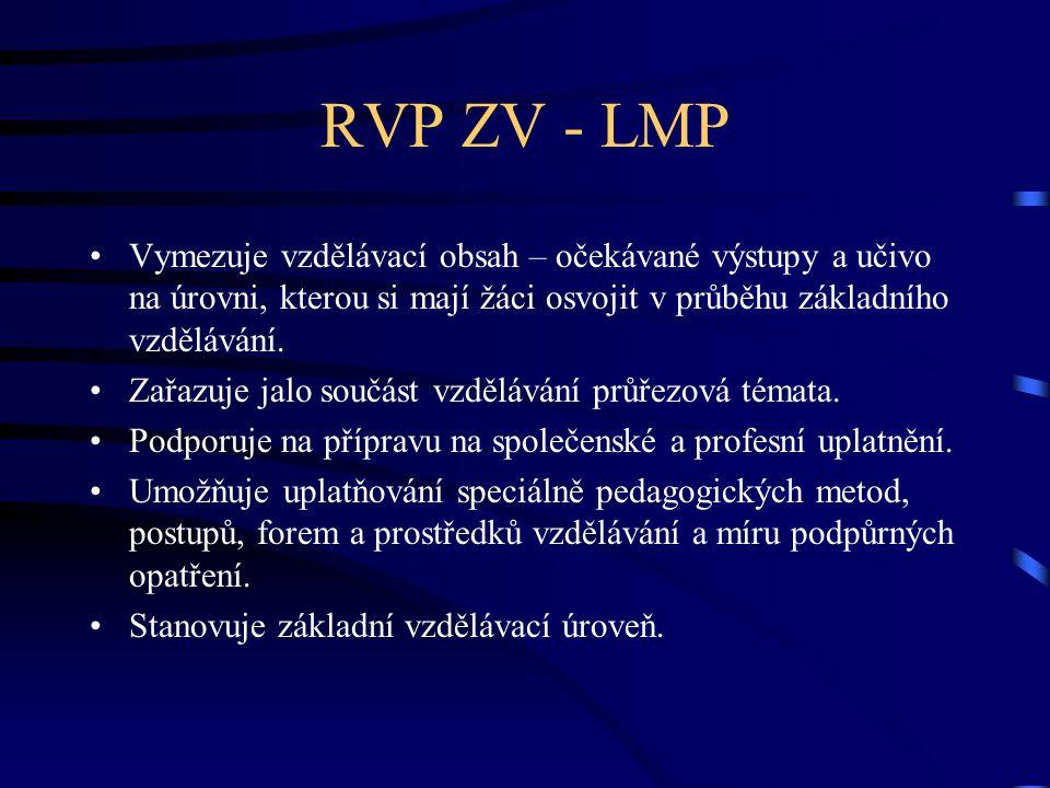 RVP ZV - LMP Vymezuje vzdělávací obsah – očekávané výstupy a učivo na úrovni, kterou si mají žáci osvojit v průběhu základního vzdělávání. Zařazuje ja