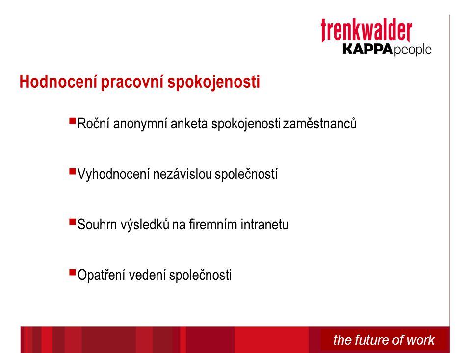the future of work Hodnocení pracovní spokojenosti  Roční anonymní anketa spokojenosti zaměstnanců  Vyhodnocení nezávislou společností  Souhrn výsl