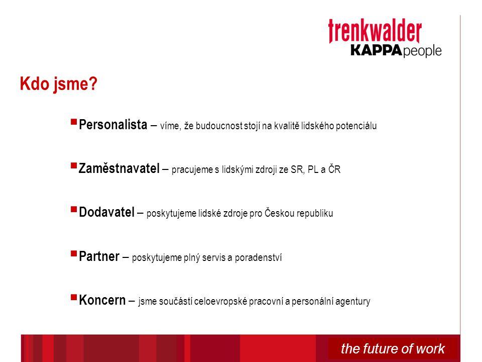 the future of work Kdo jsme?  Personalista – víme, že budoucnost stojí na kvalitě lidského potenciálu  Zaměstnavatel – pracujeme s lidskými zdroji z