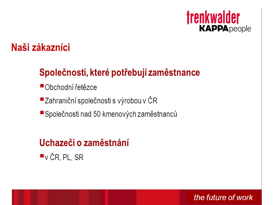 the future of work Naši zaměstnanci  3 500 agenturních zaměstnanců – 60% zaměstnanců SR národnosti – 30% zaměstnanců ČR národnosti – 10% zaměstnanců PL národnosti  170 kmenových zaměstnanců – centrála společnosti – Ostrava – 15 poboček v ČR – 13 náborových kanceláří v SR – 5 náborových kanceláří v PLR