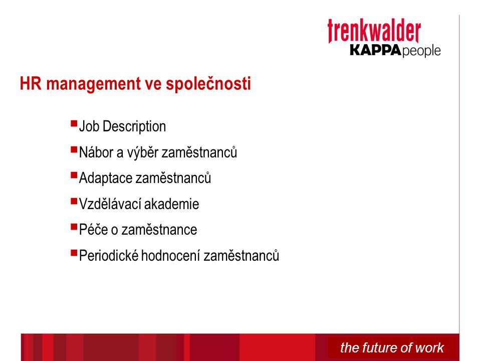 the future of work HR management ve společnosti  Job Description  Nábor a výběr zaměstnanců  Adaptace zaměstnanců  Vzdělávací akademie  Péče o za