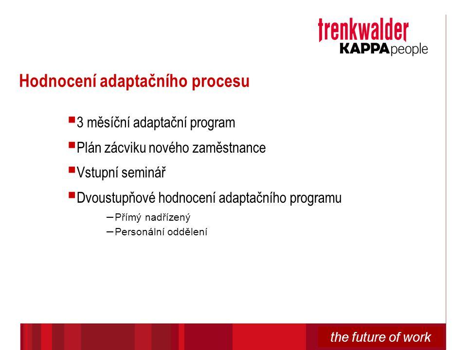 the future of work Hodnocení adaptačního procesu  3 měsíční adaptační program  Plán zácviku nového zaměstnance  Vstupní seminář  Dvoustupňové hodn