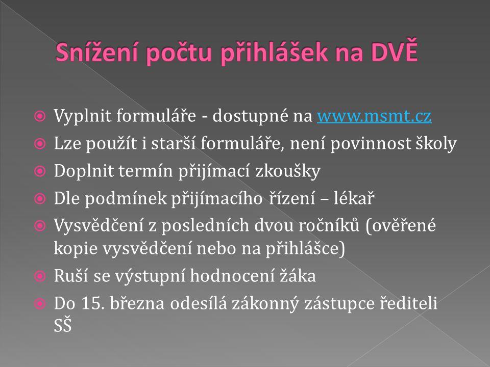  Vyplnit formuláře - dostupné na www.msmt.czwww.msmt.cz  Lze použít i starší formuláře, není povinnost školy  Doplnit termín přijímací zkoušky  Dl