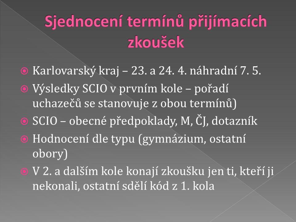  Karlovarský kraj – 23. a 24. 4. náhradní 7. 5.  Výsledky SCIO v prvním kole – pořadí uchazečů se stanovuje z obou termínů)  SCIO – obecné předpokl