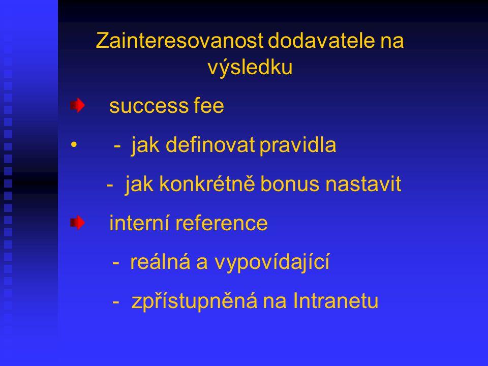 Zainteresovanost dodavatele na výsledku success fee - jak definovat pravidla - jak konkrétně bonus nastavit interní reference - reálná a vypovídající - zpřístupněná na Intranetu