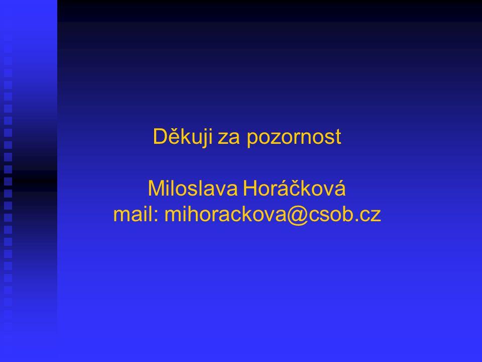Děkuji za pozornost Miloslava Horáčková mail: mihorackova@csob.cz