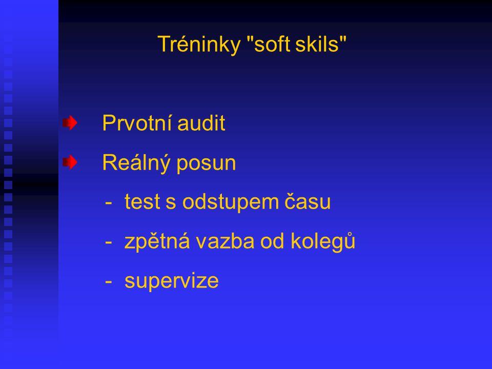 Tréninky soft skils Prvotní audit Reálný posun - test s odstupem času - zpětná vazba od kolegů - supervize