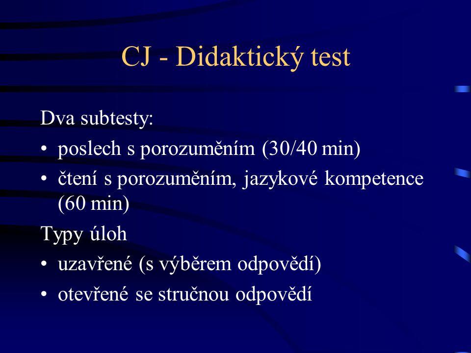 CJ - Didaktický test Dva subtesty: poslech s porozuměním (30/40 min) čtení s porozuměním, jazykové kompetence (60 min) Typy úloh uzavřené (s výběrem odpovědí) otevřené se stručnou odpovědí