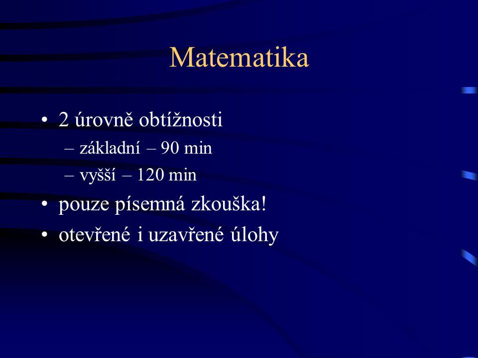 Matematika 2 úrovně obtížnosti –základní – 90 min –vyšší – 120 min pouze písemná zkouška.