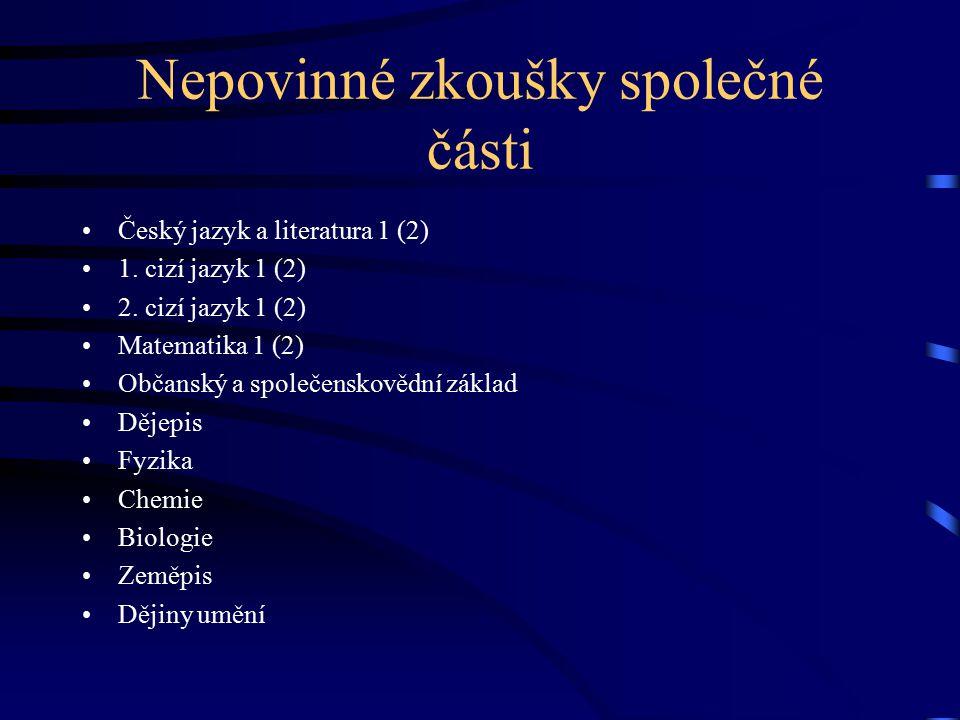 Nepovinné zkoušky společné části Český jazyk a literatura 1 (2) 1.
