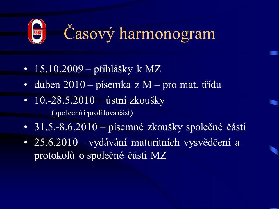 Časový harmonogram 15.10.2009 – přihlášky k MZ duben 2010 – písemka z M – pro mat.