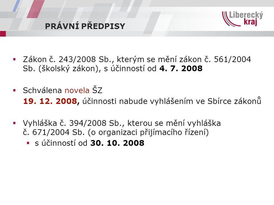 PRÁVNÍ PŘEDPISY  Zákon č. 243/2008 Sb., kterým se mění zákon č.