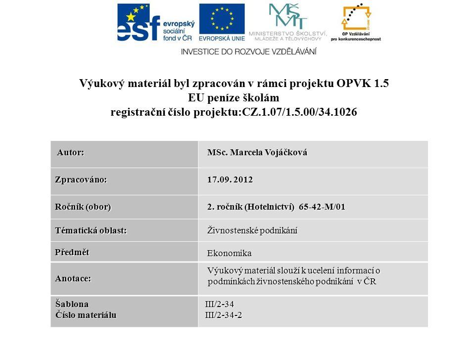 Autor: Autor: MSc. Marcela Vojáčková MSc. Marcela Vojáčková Zpracováno: 17.09.