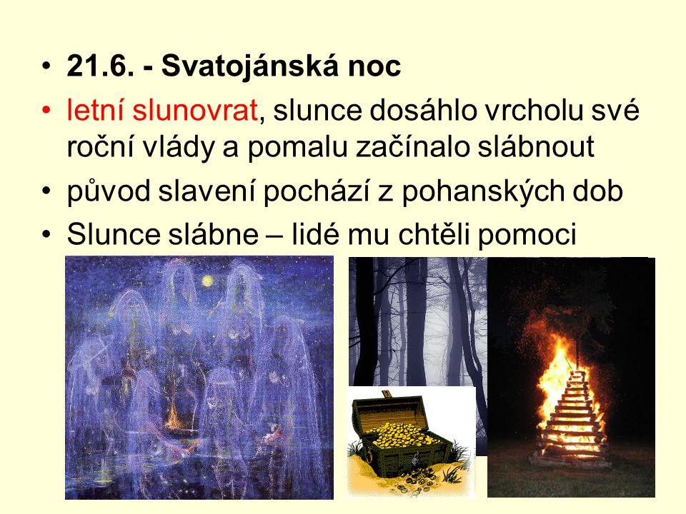 Svatojanský oheň kolem ohně všichni tančili a hráli hry děvčata prohazovala skrze plameny věnečky a mládenci se je na druhé straně snažili chytat – symbol věrnosti