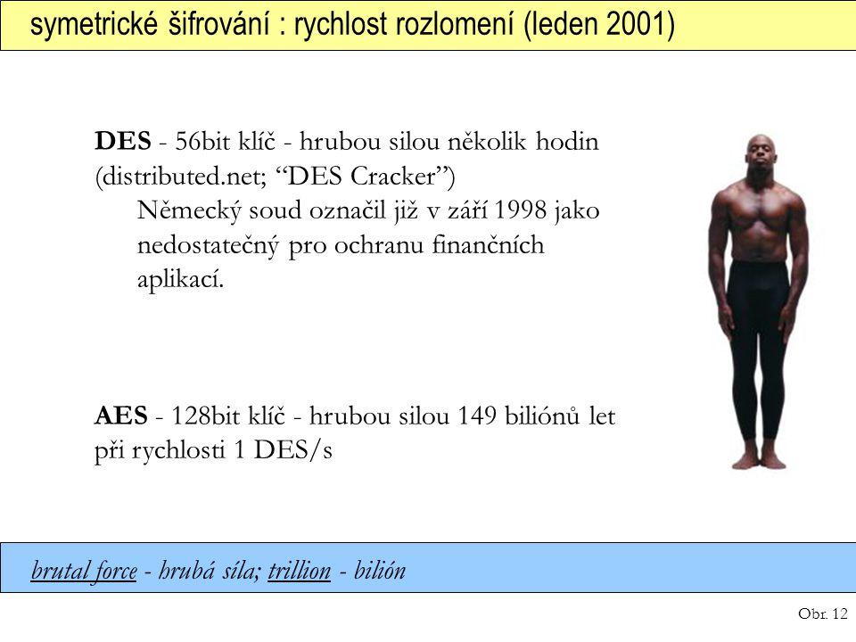 Obr. 12 symetrické šifrování : rychlost rozlomení (leden 2001) brutal force - hrubá síla; trillion - bilión DES - 56bit klíč - hrubou silou několik ho
