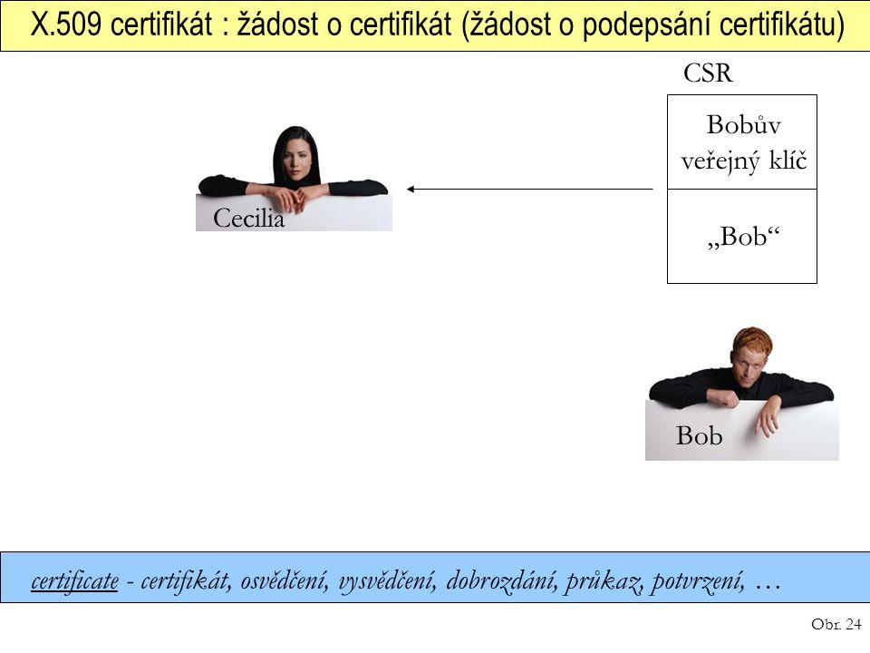 Obr. 24 X.509 certifikát : žádost o certifikát (žádost o podepsání certifikátu) certificate - certifikát, osvědčení, vysvědčení, dobrozdání, průkaz, p