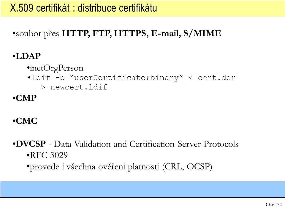 "Obr. 30 X.509 certifikát : distribuce certifikátu soubor přes HTTP, FTP, HTTPS, E-mail, S/MIME LDAP inetOrgPerson ldif -b ""userCertificate;binary"" new"