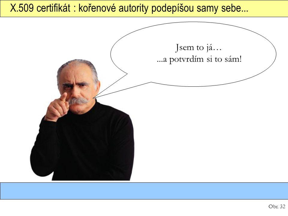 Obr. 32 X.509 certifikát : kořenové autority podepíšou samy sebe... Jsem to já…...a potvrdím si to sám!
