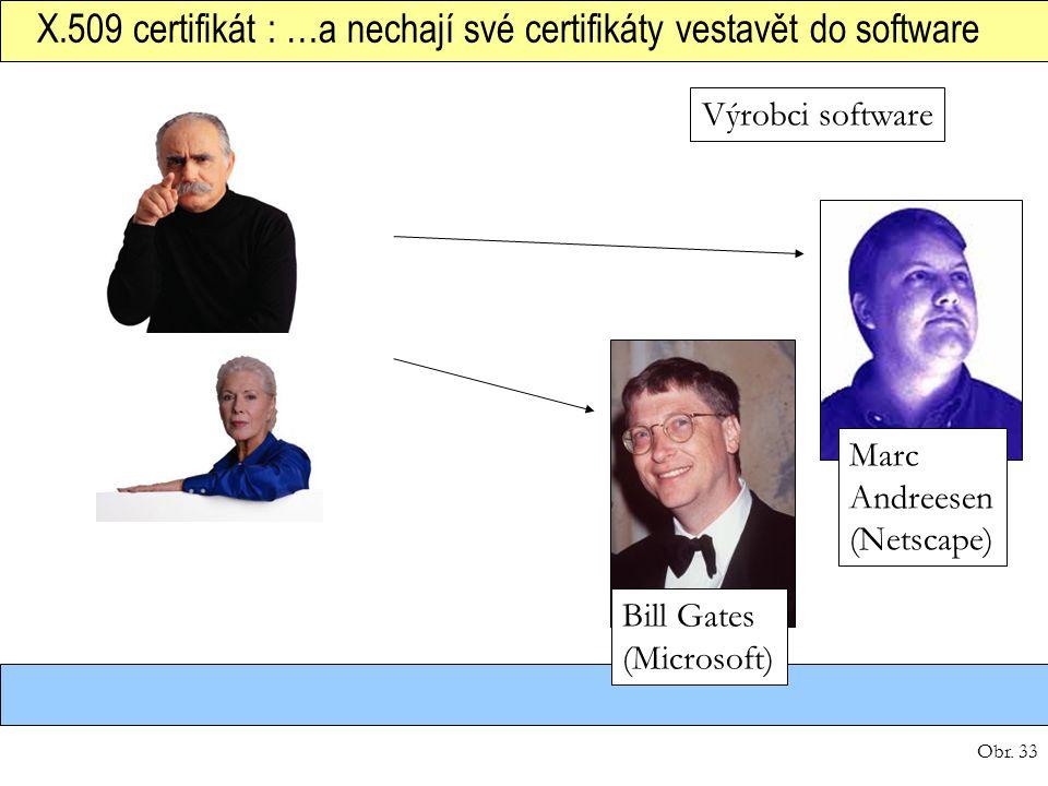 Obr. 33 X.509 certifikát : …a nechají své certifikáty vestavět do software Výrobci software Marc Andreesen (Netscape) Bill Gates (Microsoft)
