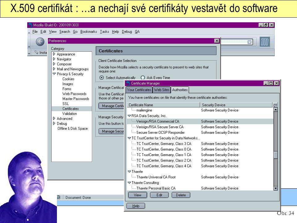 Obr. 34 X.509 certifikát : …a nechají své certifikáty vestavět do software