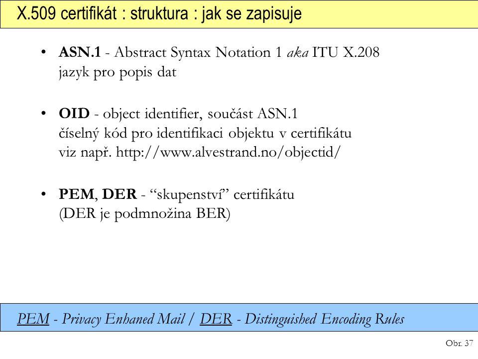 Obr. 37 X.509 certifikát : struktura : jak se zapisuje ASN.1 - Abstract Syntax Notation 1 aka ITU X.208 jazyk pro popis dat OID - object identifier, s