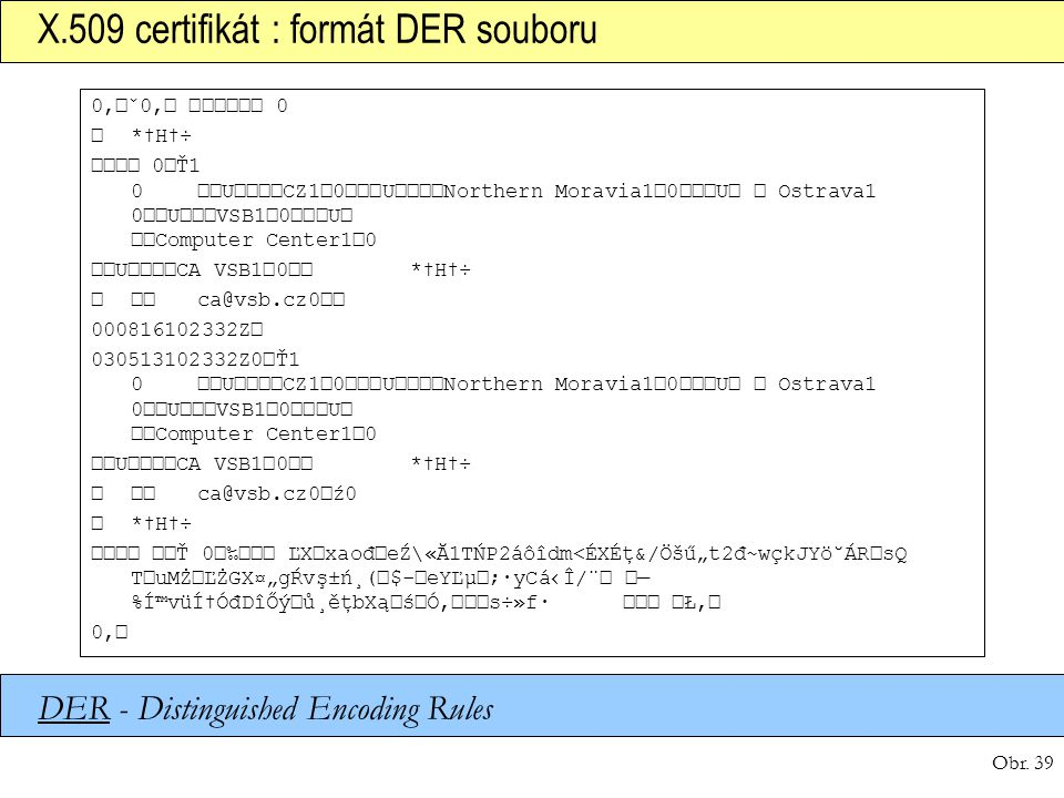 Obr. 39 X.509 certifikát : formát DER souboru 0'ˇ0' 0 *†H†÷ 0Ť1 0UCZ10UNorthern Moravia10UOstrava10UVSB10U Computer Center10 UCA VSB10*†H†÷ ca@vsb.cz
