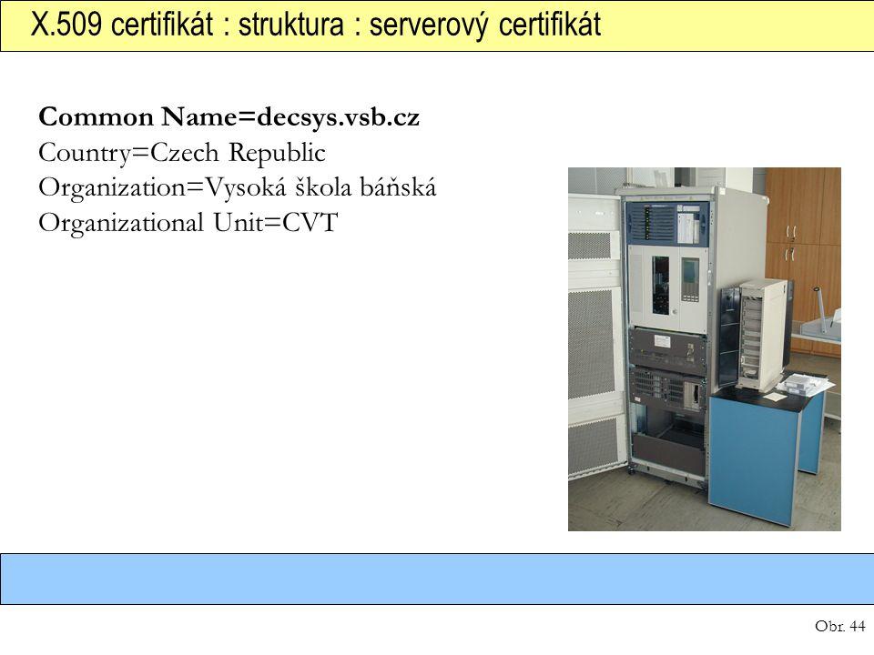 Obr. 44 X.509 certifikát : struktura : serverový certifikát Common Name=decsys.vsb.cz Country=Czech Republic Organization=Vysoká škola báňská Organiza