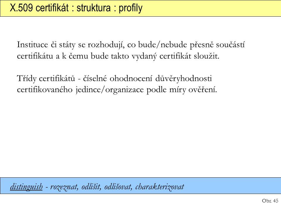 Obr. 45 X.509 certifikát : struktura : profily distinguish - rozeznat, odlišit, odlišovat, charakterizovat Instituce či státy se rozhodují, co bude/ne