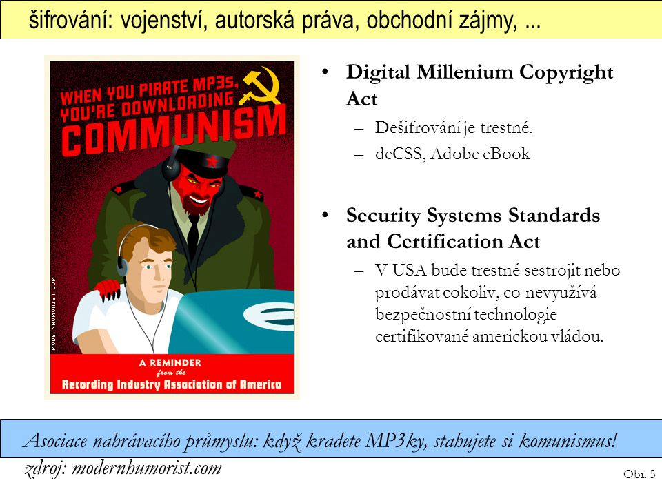 Obr. 5 šifrování: vojenství, autorská práva, obchodní zájmy,... Digital Millenium Copyright Act –Dešifrování je trestné. –deCSS, Adobe eBook Security