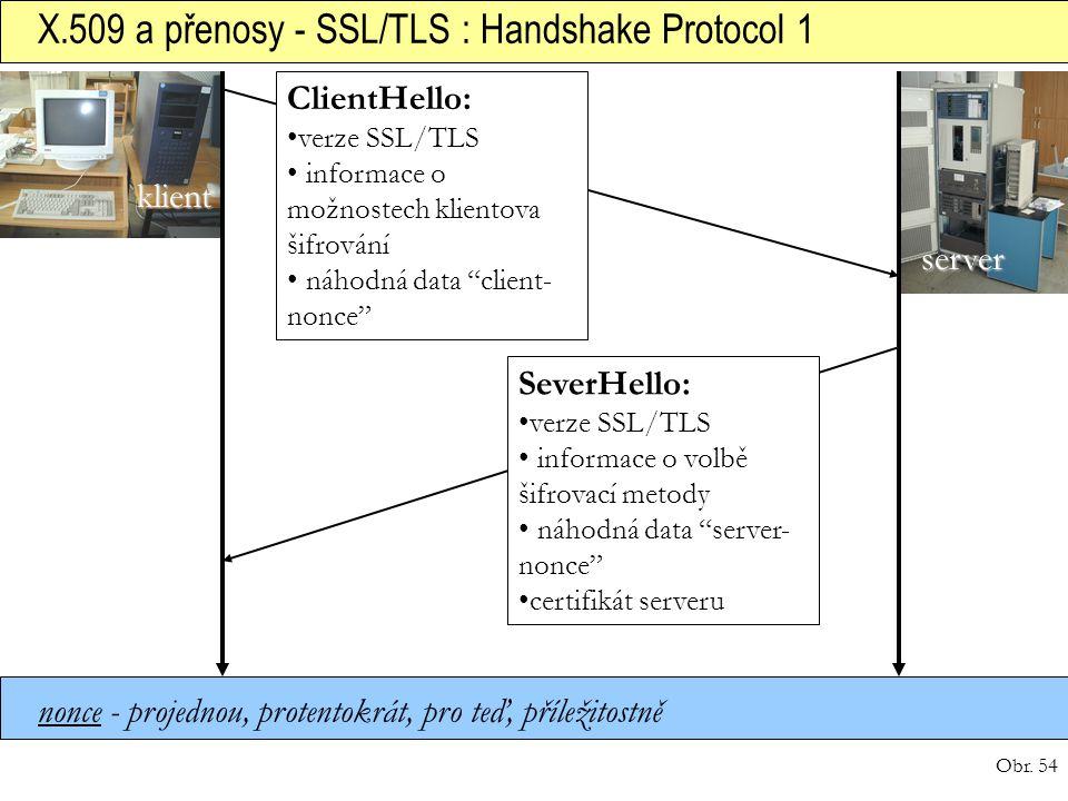 Obr. 54 X.509 a přenosy - SSL/TLS : Handshake Protocol 1 klient server ClientHello: verze SSL/TLS informace o možnostech klientova šifrování náhodná d