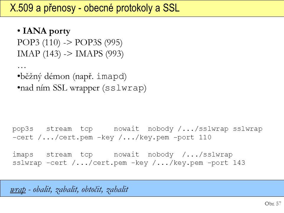 Obr. 57 X.509 a přenosy - obecné protokoly a SSL pop3s stream tcp nowait nobody /.../sslwrap sslwrap -cert /.../cert.pem -key /.../key.pem -port 110 i